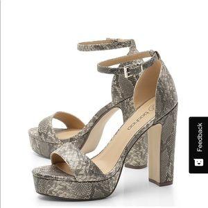 🎀Snake Print Platform Heels